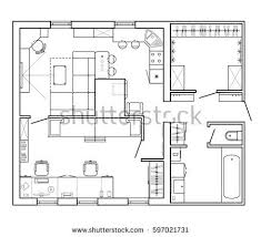 Layout Plan Of The Apartment With Furniture In Drawing