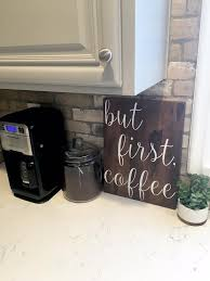 But First CoffeeHand PaintedRustic Woodwooden Coffee SignKitchen Sign