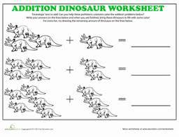 Kindergarten Math Worksheets Triceratops Addition Coloring