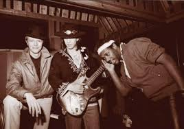 David Bowie Stevie Ray Vaughan And Producer Nile Rodgers During The Lets Dance Recording Sessions In 1982