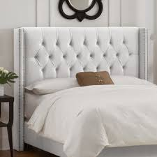 nail button tufted wingback headboard velvet white decor