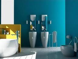 farbrausch schöner wohnenn badezimmer mit blau wandstreich