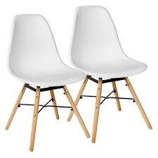weiß 2er set skandinavisches retro design modern stühle esszimmerstühle möbel holz stahl kunststoff schale rund für wohnzimmer esszimmer küche büro