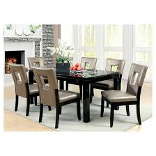 iohomes 7pc glass insert table top dining table set wood black