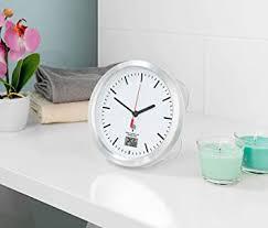 st leonhard badezimmeruhr badezimmer funk wanduhr mit thermometer saugnäpfen alu rahmen ipx4 badezimmer funkuhr mit saugnapf