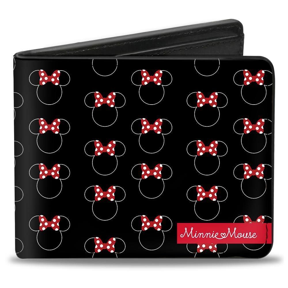 Bi-Fold Wallet - Minnie Mouse Icon Monogram Minnie Mouse Banner Black White Red