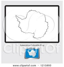 Clipart Of A Coloring Page And Sample For An Antarctica Flag