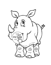 Rhinoceros Cartoon Animals Coloring Pages For Kids Printable Free