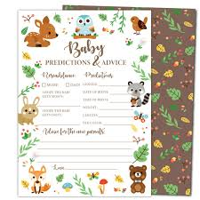 Gooji Baby Shower Prediction And Advice Card Games 50Pack Woodland Animal Themed Play Charts HighQuality Cardstock Rich Colors And Graphics