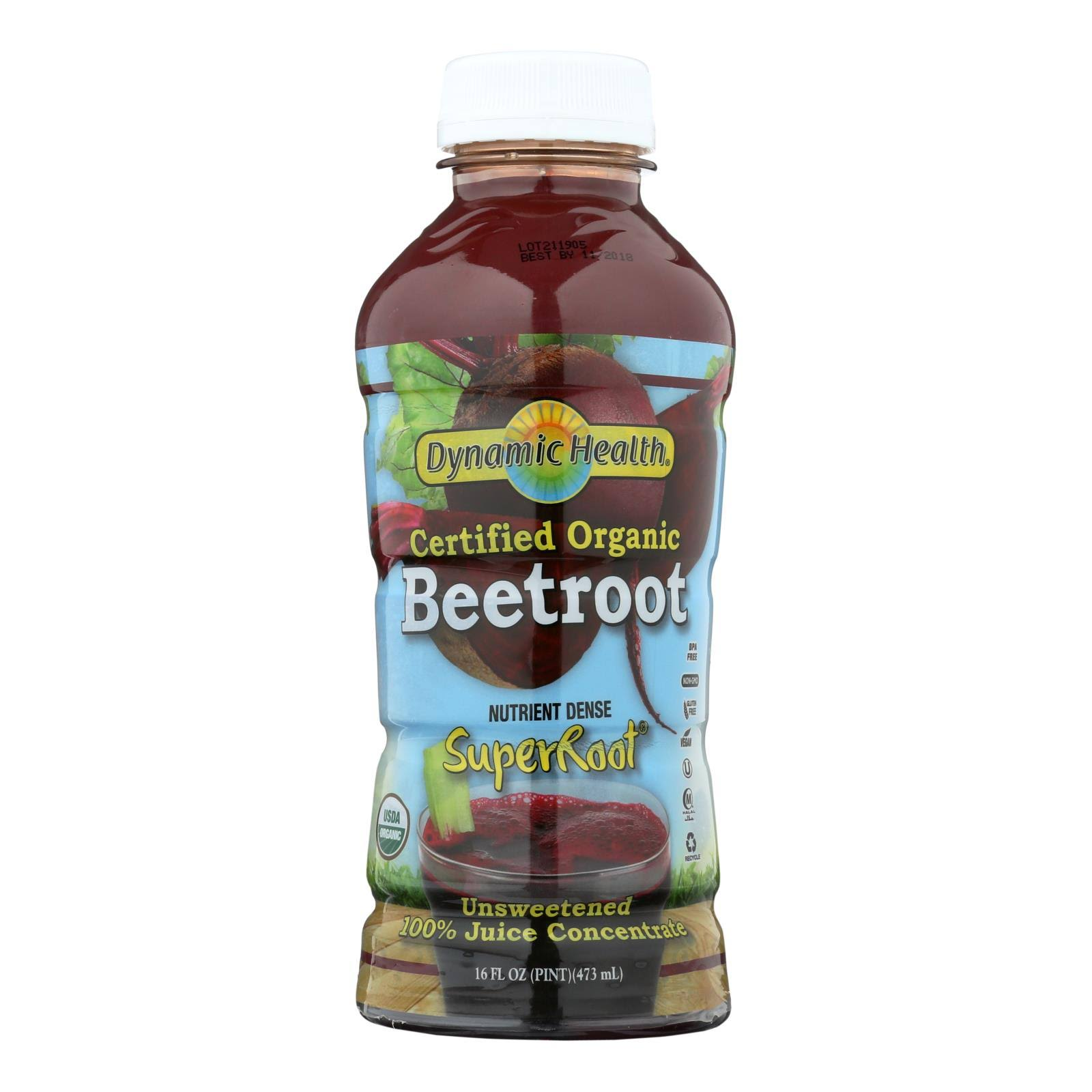 Dynamic Health Organic Juice, Beet, 16 fl oz, Red