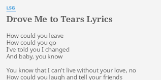 drove me to tears lyrics by lsg how could you leave