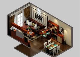 Modern Living Dining Room And Bar Design D View House Apartment Combo Small