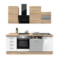 küchenzeile rom küche mit e geräten 13 teilig breite 220 cm weiß