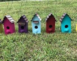 Birdhouse Birdhouses Wooden Tin Roof Yard Decor Garden