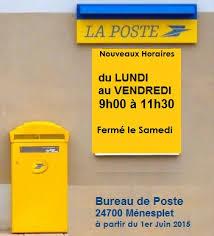 nouveaux horaires pour le bureau de poste à c 1er juin 2015