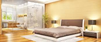 schlafzimmer des modernen entwurfs mit badezimmer und