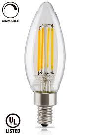 ul listed led filament candelabra bulb e12 base torchstar