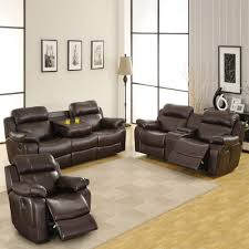weston home darrin leather reclining sofa set with console brown