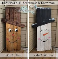 Reversible Pallet Scarcrow And Snowman These Are The BEST Fall Craft Ideas