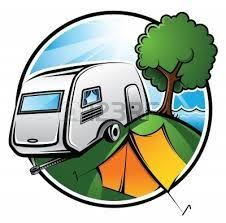 Royalty Free Rf Stock Logo Clip Art Illustration Of A Retro Camper And Tent In Campground This Camping Image Was Designed Digitally
