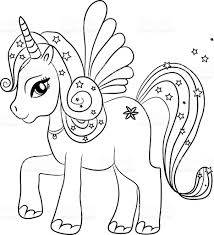 Unicorn Coloring Page For Kids Stock Vector Art 487495686