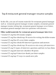 Top 8 Restaurant General Manager Resume Samples In This File You Can Ref Materials