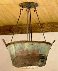 Re Think Your Decor Jayne Young Repurposes Antique Copper Pots Into Light Fixtures Wash Tub 4 Mud Room