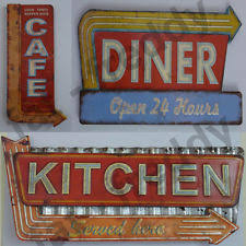 Big Distressed Vintage Retro Metal Cafe Diner Kitchen Signs American Wall Dec