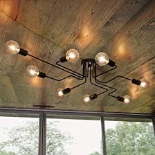 oyipro vintage deckenleuchte 8 flammig deckenle kronleuchter licht industrielle e27 lenfassung für wohnzimmer schlafzimmer esszimmer flur bar