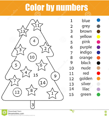 Christmas Tree Coloring Page Print Out by Coloring Page With Christmas Tree Color By Numbers Stock Vector