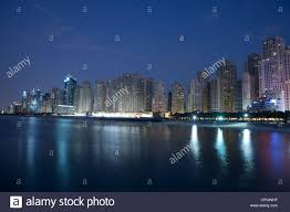 100 Skyline Residence Jumeirah Beach Skyline At Night Dubai UAE Stock