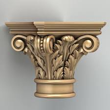 3d model carved column capital motif Pinterest