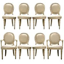 Extraordinary Louis Dining Room Chairs Set Of 8 French Xvi Style Painted Xiv