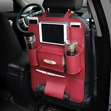 Car Back Seat Multi Pocket Phone Cup Holder PU Leather Seat