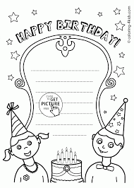 Nice Happy Birthday Card Coloring Page For Kids Holiday Pages Printables Free