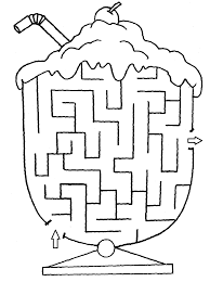 Ice Cream Cup Maze To Print And Color