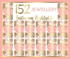 152 Jewellery Instagram Story Highlight Covers Pink Tropical Gold Theme