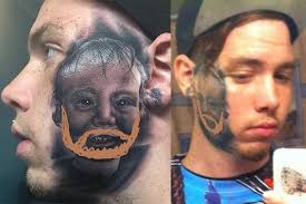 20 Year Old Gets His Sons Portrait Tattooed On Face
