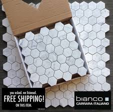 11 25 a square foot and free shipping carrara bianco 2 hexagon