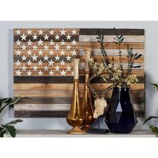 Rustic American Flag Framed Wooden Wall Art