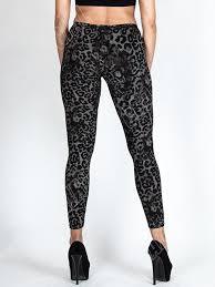 new womens ladies black leopard animal print leggings plus size 8