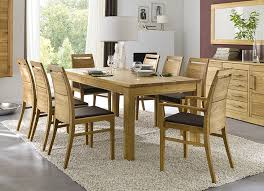 massivholz esszimmer wildeiche tisch ausziehbar 210 310x95 cm massiv esszimmerstühle 2x mit armlehne leder polster braun casade mobila