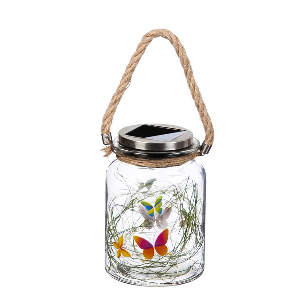 Evergreen Butterfly Solar Mason Jar with String Lights