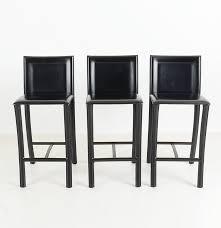 Black Leather Bar Stools by Three Italian Black Leather Bar Stools By Filippo Sibau Ebth