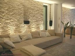 wohnzimmer mit steinwand mit beleuchtung dekoration