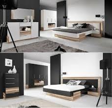 schlafzimmer montana weiß schwarz komplettset schrank bett