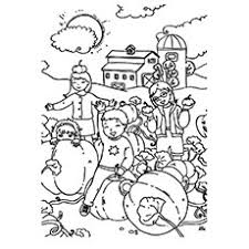 Kids Playing With Pumpkin Coloring Pages