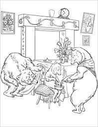 The Papa Bear Is Looking Under Table While Mama Giving Her Porridge To Baby Coloring Page