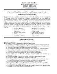 Sample Resume Waitress Objective Statement