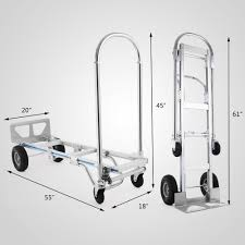 2 In 1 Aluminum Hand Truck / Dolly & Utility Cart Heavy Duty 880lb ...